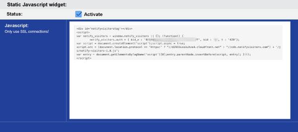 Copy-NotifyVisitors-integration-code