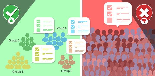 Grouping users maximize survey response rates