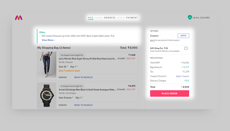 myntra checkout page conversion rate optimization