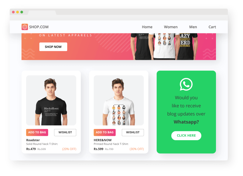 whats app landing page