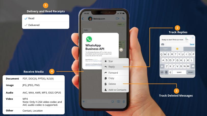 Users accessibilty through Whatsapp Business