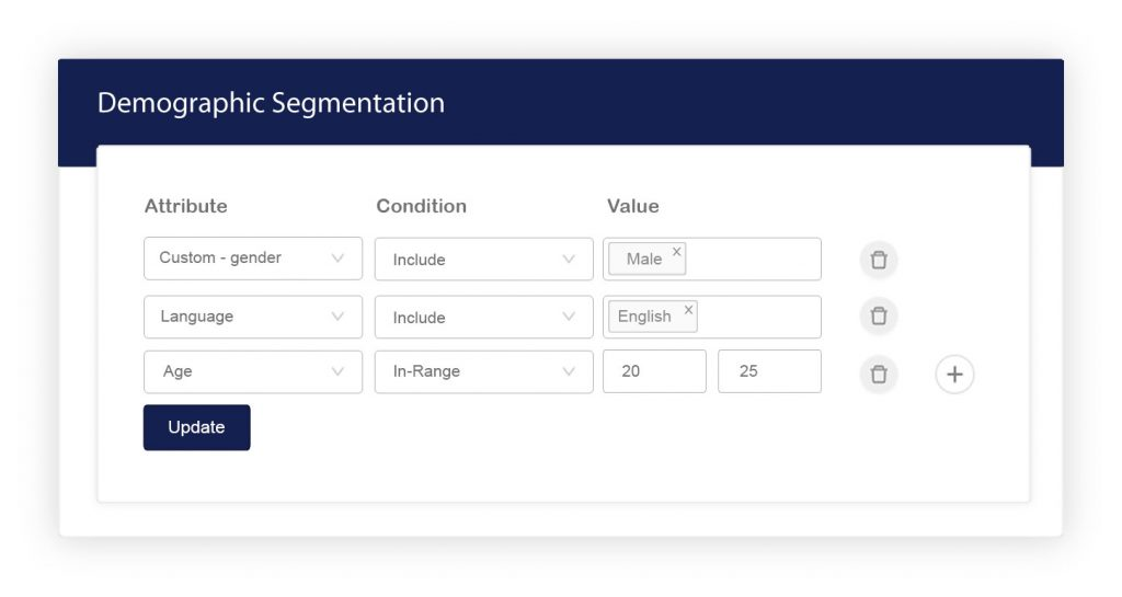 create segment demographically
