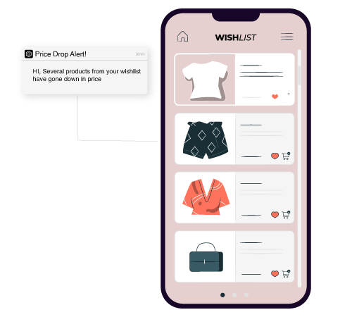 Announce price change in wish-list items